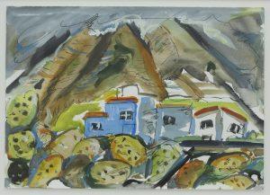 Blaues Haus an den Hängen des Teide