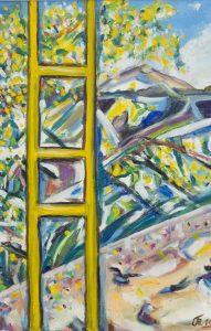 Mimosen und gelbe Dachleiter